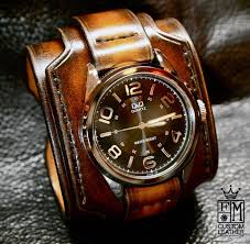 leather strap bracelet watches images Leather cuff watch tobacco sunburst wide layered brown watch band jpg