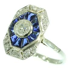 french art deco gold and platinum diamond sapphire estate