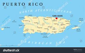 United States Map With Labeled States by Puerto Rico Political Map Capital San Stock Vector 268639307
