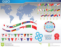 Flags Of The Wrld G20 Countries Flags Or Flags Of The World Element Design Stock