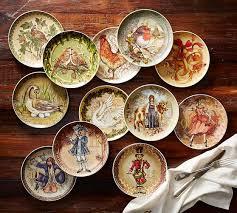 christmas plates twelve days of christmas salad plates mixed set of 12 pottery barn