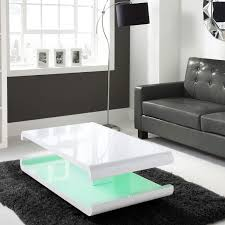 tiffany white high gloss curved coffee table with set in black
