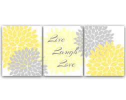 home decor canvas wall art live laugh love yellow gray wall