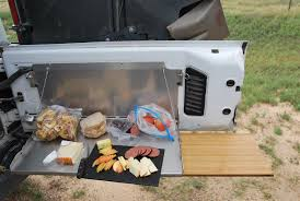 overland jeep kitchen trailgater bolt on tailgate table for jeep jk 2007 2018 with bamboo