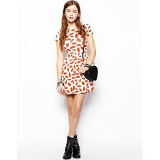 red lip prints above knee short sleeve style dress avery couture