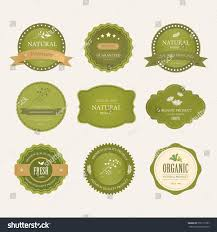 set natural label organic label green stock vector 572115187