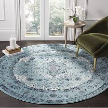 light blue round area rug safavieh evoke collection evk220e vintage oriental light blue round