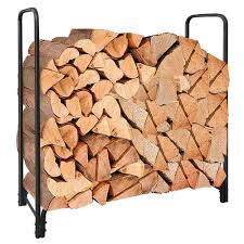 4ft outdoor tubular firewood rack for fireplace log holder