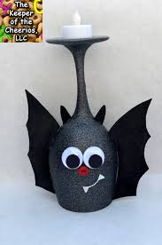 Halloween Crafts Pinterest by Cute Bat Wine Glass Candle Holder The Keeper Of The Cheerios