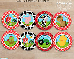 Barn Party Decorations Farm Cupcake Toppers Etsy