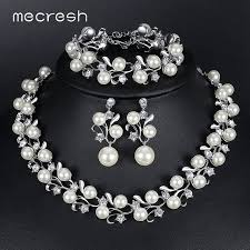 pearl bridal necklace images Mecresh noble simulated pearl bridal jewelry sets silver color jpg