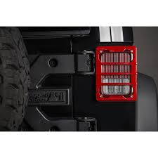 rugged ridge elite tail light guards rugged ridge 11226 06 elite tail light guards red 07 17 jeep