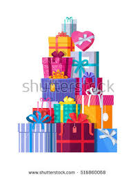 wrapped gift boxes big pile colorful wrapped gift boxes stock vector 482365975