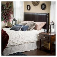 hilton bonded leather headboard full queen brown christopher