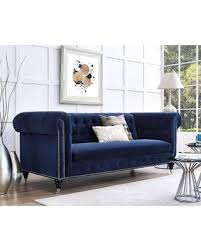 Velvet Sofa For Sale by Summer Sale Hanny Navy Blue Velvet Nailhead Trim Tufted Sofa