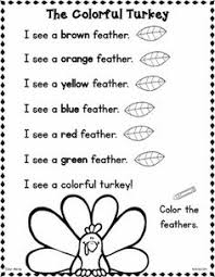 thanksgiving printable emergent reader teach kids colors