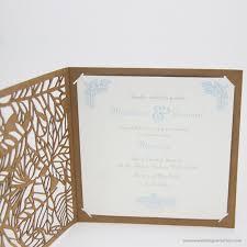 Bi Fold Wedding Program Rustic Wedding Invitations With Fern Laser Cut Design