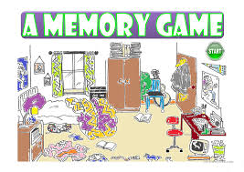 a messy room a memory game prepositions worksheet free esl