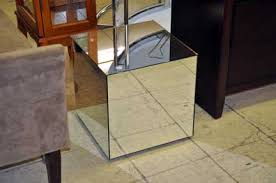 cube mirror side table wood cube side table luxury room decor