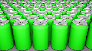 cartoon beer can green cans soft drinks or beer production recycling packaging