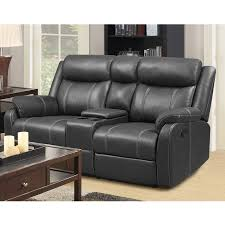 Black Leather Reclining Sofa And Loveseat Domino Carbon Reclining Console Loveseat Bernie Phyl S