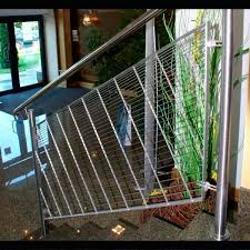 metal railing with bars indoor for stairs wedge wire