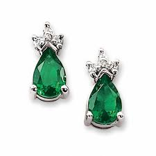 emerald earrings lab created emerald earrings in 14k white gold with diamond