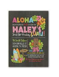 hawaiian luau birthday party invitation invite watercolor flowers