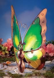 glass butterfly solar light outdoor decoration fresh garden decor