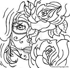 printable coloring pages sugar skulls cool color pages cool coloring sheets sugar skull woamn flowers cool