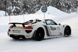 porsche 911 snow scoop new porsche 918 spyder shows its monotone shades on the snow