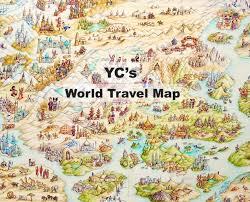 travel maps images Yc 39 s world travel map art travel of yip yew chong jpg
