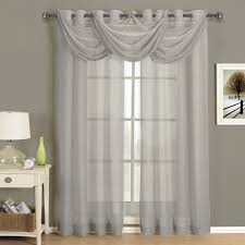 Sheer Gray Curtains Abri Grommet Crushed Sheer Curtain Panel Single