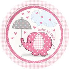 baby shower pink elephant girl baby shower plates 8ct kitchen
