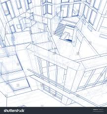 architecture blueprint house 3d technical draw stock illustration