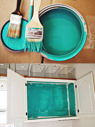 Bright Colored Kitchens - reinvent rather than buy new by painting the interior of old