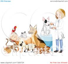 clipart caring dirty blond white female veterinarian tending