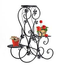 étagère en fer forgé pour cuisine étagère de pots de fleurs plantes avec 3 corbeilles jardinières en