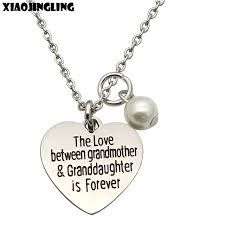 grandmother granddaughter necklace xiaojingling stainless steel heart pendant necklaces the
