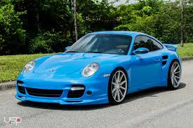 miami blue porsche turbo s vossen wheels porsche turbo s vossen flow formed series vfs 1
