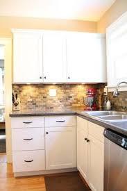 small kitchen backsplash oak kitchen remodel painted cabinets and quartz quartz