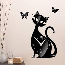 cute cat butterfly wall clock u2013 the best cat deals
