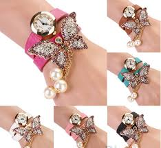 bracelet design watches images 2016 new stylish designer women 39 s faux pearls rhinestone butterfly jpg