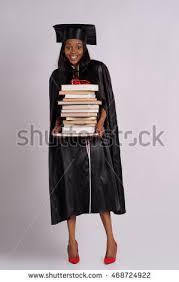 college graduation gown portrait college student graduation gown books stock photo