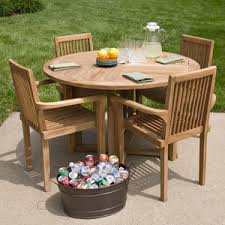 Outdoor Round Patio Table Teak Round Patio Table And Chairs Set Tableteak Tables San Diego
