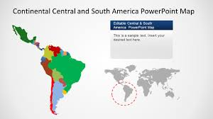 Map Of South And Central America Continental Latin America Powerpoint Map Slidemodel