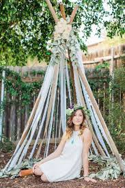 Backyard Teepee Picture Of Lace And Ribbon Teepee For A Backyard Bohemian Bridal