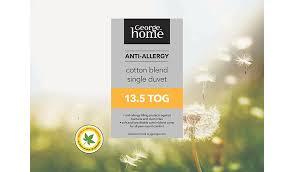 7 5 Tog Single Duvet Anti Allergy Duvet 13 5 Tog Home U0026 Garden George