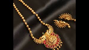 antique necklace chains images Traditional antique gold long haaram and necklace design jpg