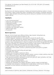 Resume Electrician Sample Chief Rig Electrician Resume Electrician Cover Letter Samples The
